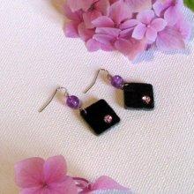 Boucles d'oreille pour Femme en Ardoise et Strass Violet, Bijou de Créateur