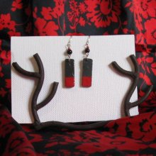 Boucles d'oreille Longues pour Femme en Ardoise Emaillée Rouge, Création Artisanale