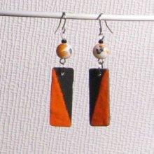 boucles d'oreille créateur en ardoise émaillée orange