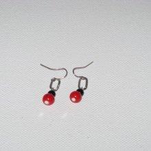 boucles d'oreille rouge noire et argentée pour oreilles percées