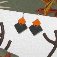 boucles d'oreille moderne orange et noire, création artisanale