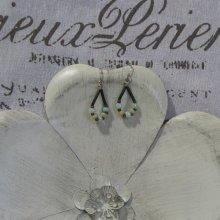 Boucles d'Oreilles Vintage en Perles et silicone, Création Unique