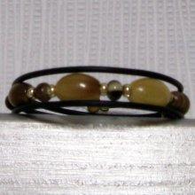 bracelet manchette style nature beige marron pvc noir