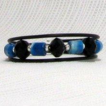 bracelet manchette 3 rangs noir et turquoise sur pvc noir