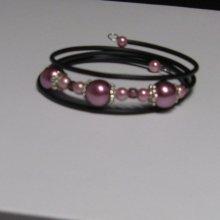 bracelet manchette style romantique rose nacré