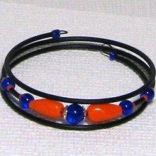 bracelet manchette orange et bleu roi
