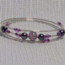 bracelet rigide trois rangs violet et gris pvc transparent
