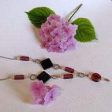 collier long, sautoir, style romantique avec des perles de verre rose et perles ardoise