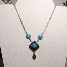 collier pendentif breloque style baroque turquoise sur chaine fantaisie