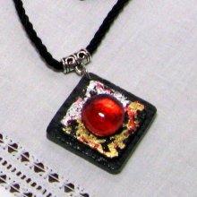 collier pendentif ardoise et feuilles métalliques or argent sur cordon coton noir style haute couture