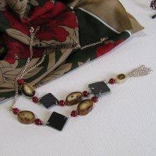 Collier Long pour Femme en Ardoise avec perles Rouge et Beige, Création Unique