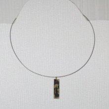 Petit Pendentif pour Femme et Ado en Ardoise Or ou Argent au choix, monté sur Câble gainé, Création Artisanale