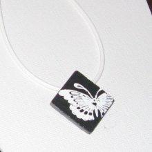 Pendentif collier papillon émaillé sur ardoise, bijou de créateur