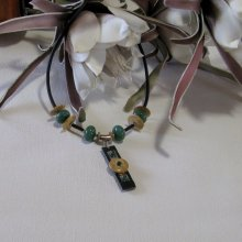 Gros Collier pour Femme en Ardoise Bois et Jade, Création Artisanale