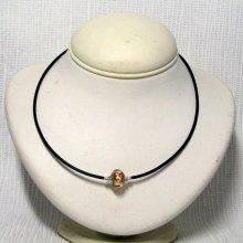 collier rigide une perle européenne blanc et marron sur pvc noir