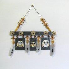 Mobile Chouettes émaillées sur Ardoise pour Déco Murale, Création Unique