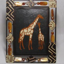 tableau africain girafe émaillée sur ardoise