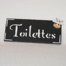 plaque de porte pour toilettes déco vache, création artisanale