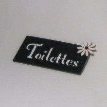 Plaque de porte toilettes en ardoise et lettres émaillées a poser sans trou