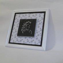 Cadre Tête Cheval Emaillée sur Ardoise Blanc et Noir, Création Unique