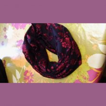 SNOOD ORIGINAL VELOURS DEVORE NOIR ET ROUGE