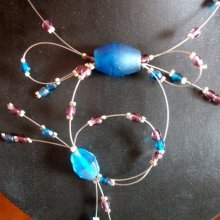 COLLIER  FIL CABLE PERLES TURQUOISE FONCE ET PRUNE