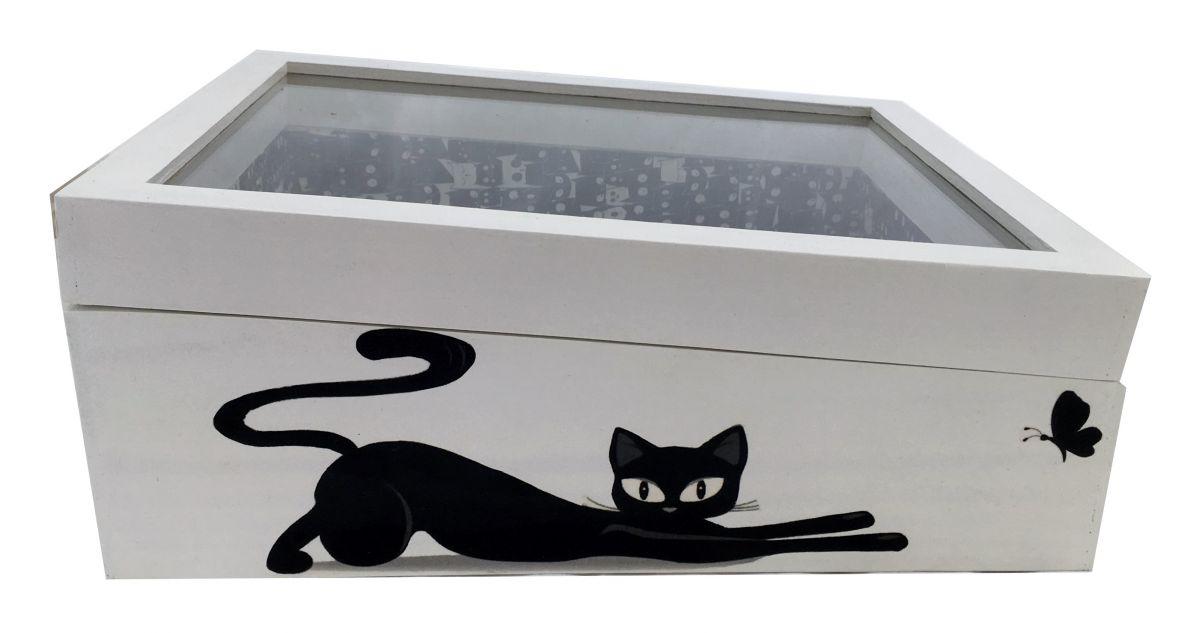 Boite en bois incliner et son couvercle en verre. Model : love cat