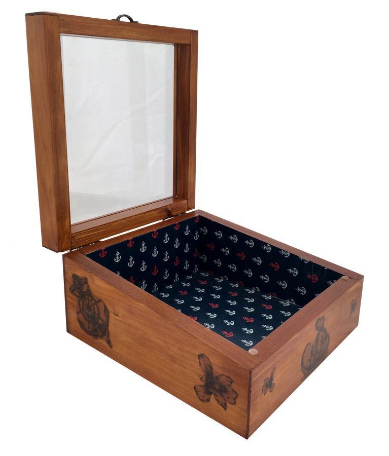 Boite en bois inclinée et son couvercle en verre. Model : ancre marine.
