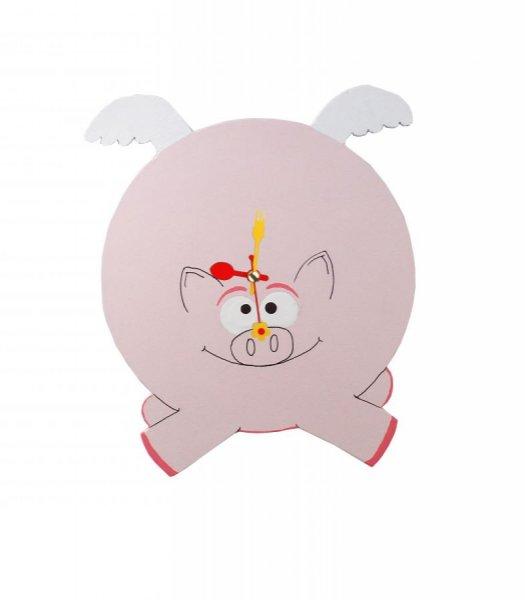 """Horloge bois """"cochon volant""""  humour"""
