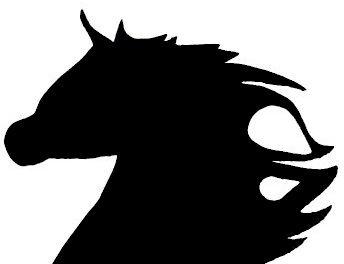 Pancarte mural ou de porte en bois model :cheval au galop 37x47 cm noir