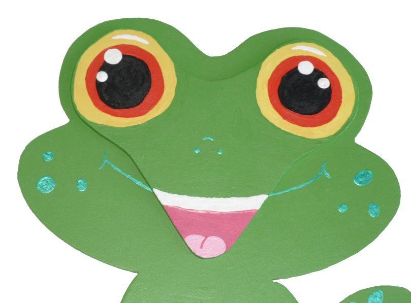 Pancarte mural ou de porte en bois model : grenouille chibi manga 21x20 cm vert