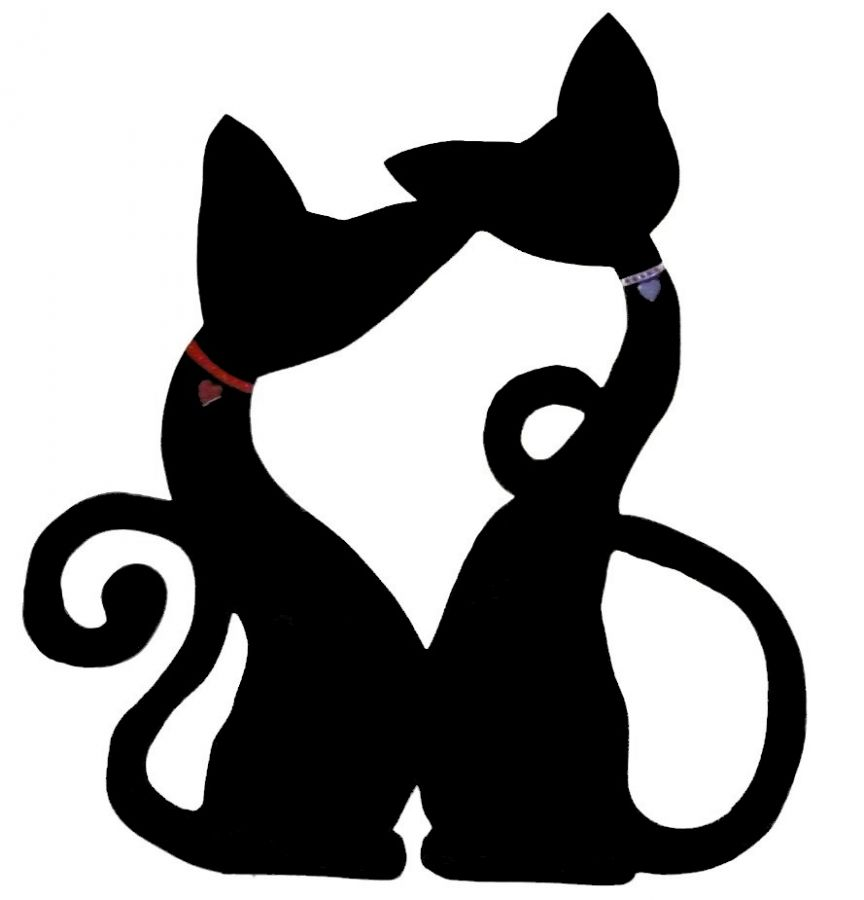 Pancarte mural ou de porte en bois model :couple chat grand enlacé cœur 46x40 cm noir