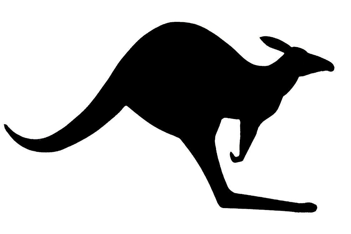 Pancarte mural ou de porte en bois model : kangourou 39x22 cm noir