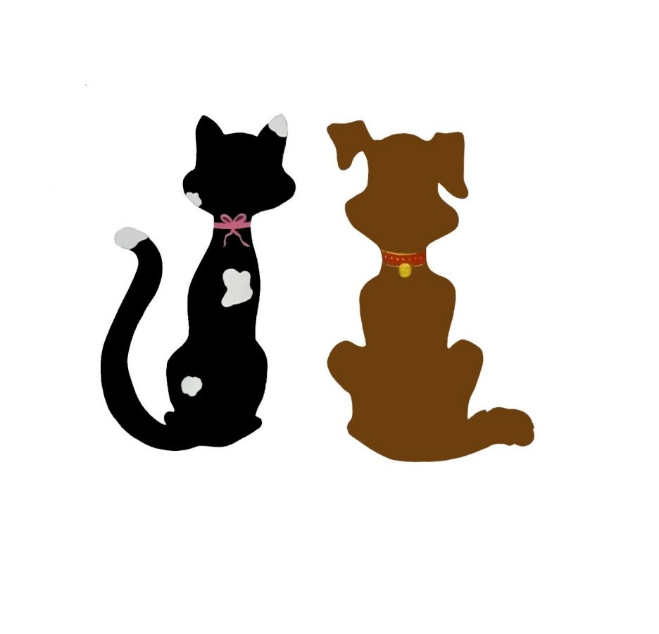 Couple chat et chien en décoration murale