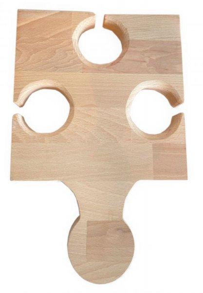 Planche À Découper Spécial Apéro En Bois De Hêtre Naturel Fsc Model Pièce De Puzzle Emplacement 3 Verres