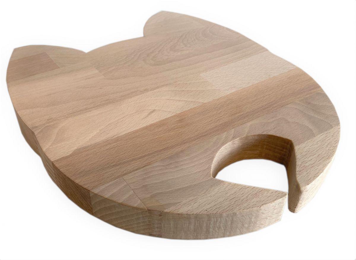 Planche à découper spécial apéro en bois de hêtre naturel FSC model tête de chat