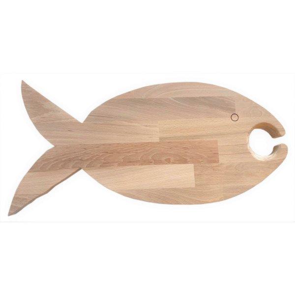 Planche à découper spécial apéro en bois de hêtre naturel FSC modèle poisson emplacement 1 verre