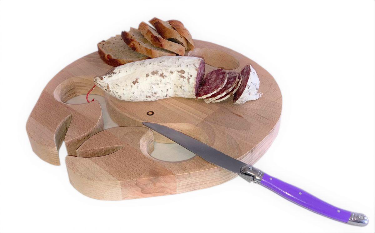 Planche à découper spécial apéro en bois de hêtre naturel FSC model crabe emplacement 2 verres a pieds