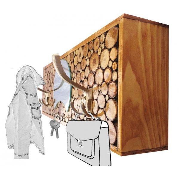 Porte-manteaux mural rectangulaire en rondin de bois Couleur châtaignier 2 patère triple et miroir demi lune. 60x20