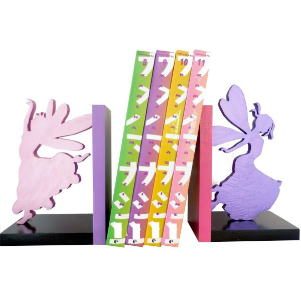 Serre-livres « Fées Joyeuses » moderne, en bois