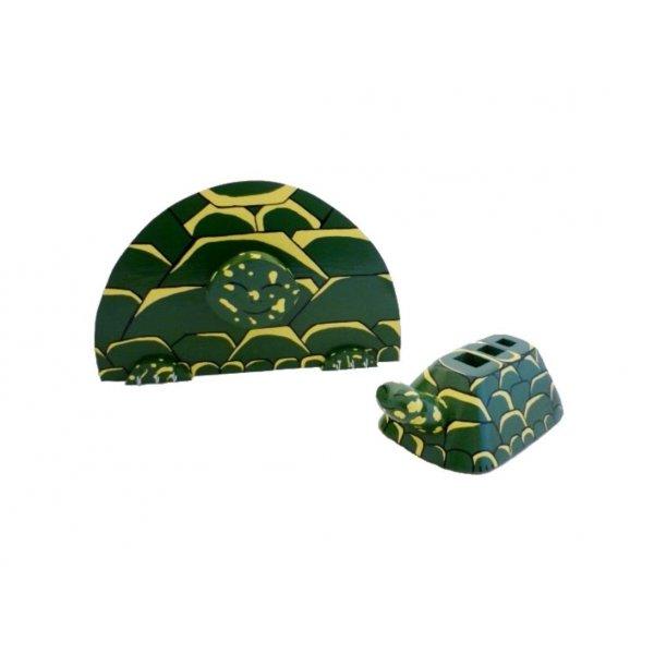Set de rentrée scolaire bois model : tortue Pot a crayon et Porte manteau mural a une patère