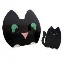 Set de rentrée scolaire en bois model : chat espiègle Pot a crayon et Porte manteau mural a 3 patères +  porte clé