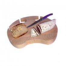 Planche à découper spécial apéro en bois de hêtre naturel FSC model patte de chat emplacement 4 verres a pieds