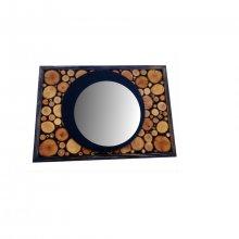 Miroir rectangulaire en rondin de bois couleur ébène 31 x 22