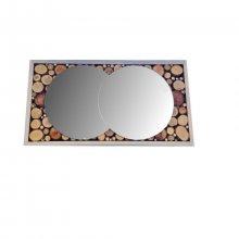 Miroir rectangulaire en rondin de bois 39 x 20 cm gris