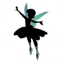 Pancarte mural ou de porte en bois model : fée dansante 60x38 Cm Paillette holographique violet vert