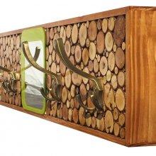 Grand Porte-manteaux mural rectangulaire en rondin de bois avec miroir