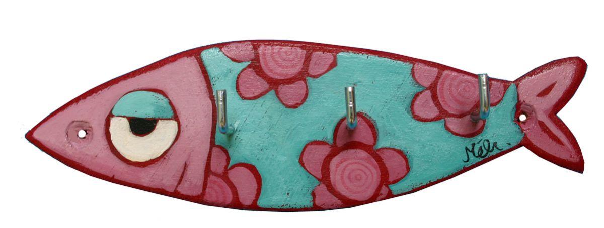 Accroche-clés ou torchons Sardine à fleurs en bois
