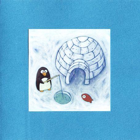 Carte double bleue pingouin et igloo