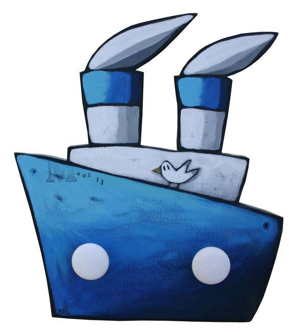 Porte-manteau Bateau bleu
